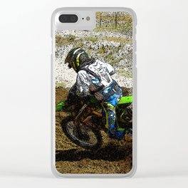 Round the Bend - Dirt-Bike Racing Clear iPhone Case
