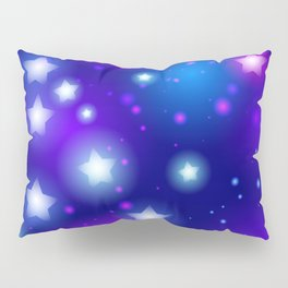 Milky Way Abstract pattern with neon stars on blue background Pillow Sham