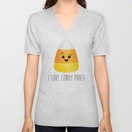 I Love Corny Puns! (Candy Corn) Unisex V-Neck