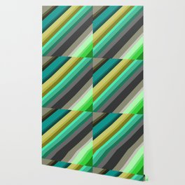 green brown yellow grey stripes Wallpaper