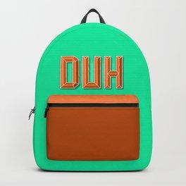 """""""DUH"""" 3D Letters (Green, Orange) Backpack"""