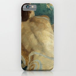 Backlite Nude Figure Oil painting Turquoise of Woman iPhone Case