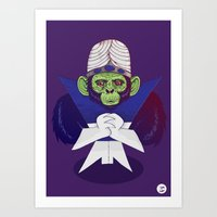 jojo Art Prints featuring Mojo Jojo by Mikhail Desales