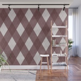Pantone Red Pear Argyle Plaid Diamond Pattern Wall Mural