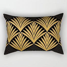 Art Deco Luxurious Gold and Ebony Black Elegant Design Rectangular Pillow