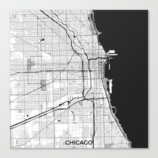 Chicago Map Gray Canvas Print