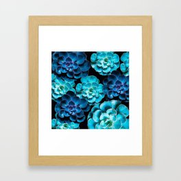 Succulent Plants In Blue And Turquoise Color #decor #society6 #homedecor Framed Art Print