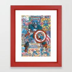 Vintage Comic Capt America Framed Art Print