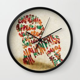 Bichon Frise Typography Art / Watercolor Painting Wall Clock