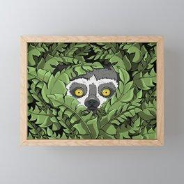 Lemur hiding in plants Framed Mini Art Print