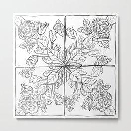 Portuguese Tiles - Line Art Metal Print