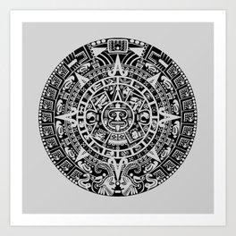 Mayan Calendar // Light Grey Art Print