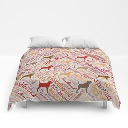 Bloodhound dog Word Art pattern Comforters