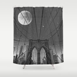 Blood Moon over Brooklyn Bridge and New York City Shower Curtain