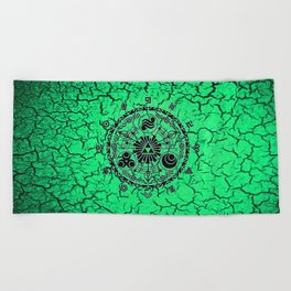 Green Circle Of Triangle Beach Towel