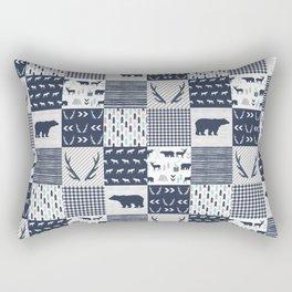Camper antlers bears pattern minimal nursery basic navy mint grey white camping cabin chalet decor Rectangular Pillow