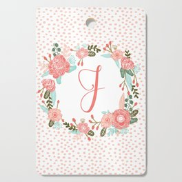 Monogram J - cute girls coral florals flower wreath, coral florals, baby girl, baby blanket Cutting Board