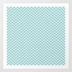 green zigzag Art Print