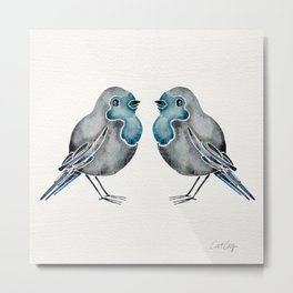 Little Blue Birds Metal Print