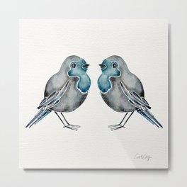 Little Blue Birds Metal Print