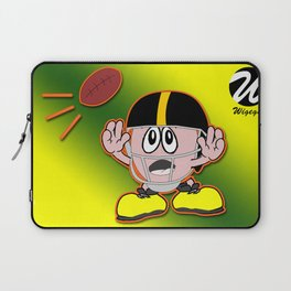 Comic Character with Football Helmet About to Catch Ball Laptop Sleeve