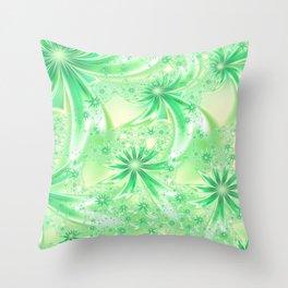 Pastel Green Wildflowers Throw Pillow
