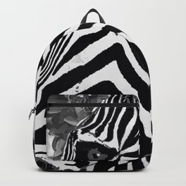 ZEBRA AND CABBAGE ROSES BLACK AND WHITE Backpack