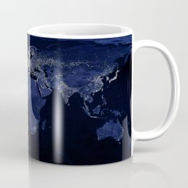 Earth at Night with the lights of most populated cities Coffee Mug