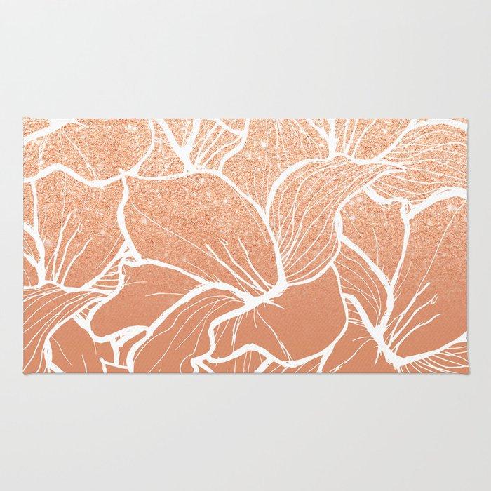 Modern copper tan terracotta glitter ombre color block white floral pattern illustration Rug
