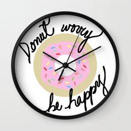 Donut Worry Be Happy Wall Clock