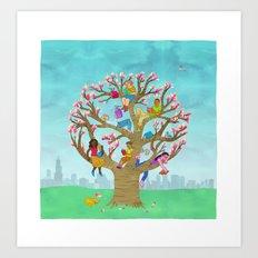 Tree Readers Art Print