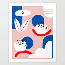 Minimalist floral shapes Art Print