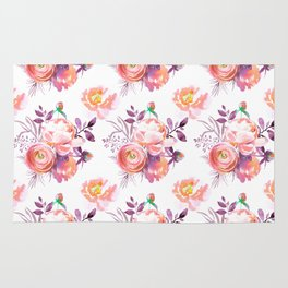 Purple orange pink hand painted watercolor roses Rug