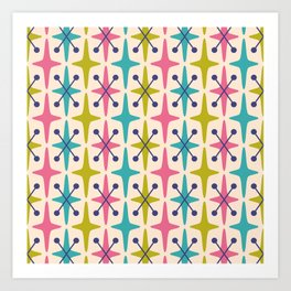 Mid Century Modern Abstract Star Pattern 942 Pink Chartreuse Turquoise and Blue Art Print