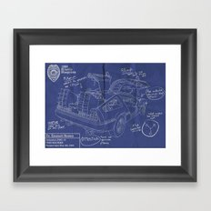 Time Machine Blueprint Framed Art Print