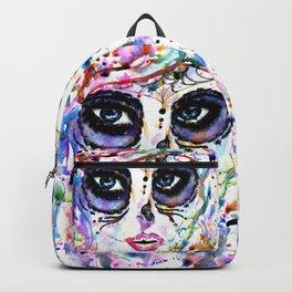 Halloween girl with sugar skull makeup, watercolor painting Backpack