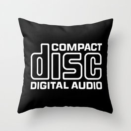 Compact Disk Digital Audio Logo - White Throw Pillow