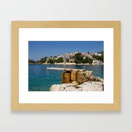 A diving board in Skiathos town (Greece) Framed Art Print