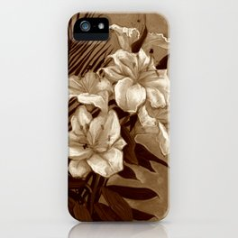 White Lilies and Palm Leaf in brownscale iPhone Case