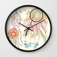 dream catcher Wall Clocks featuring Dream Catcher by famenxt