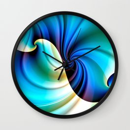 Part of a Wave (blue-cream) Wall Clock