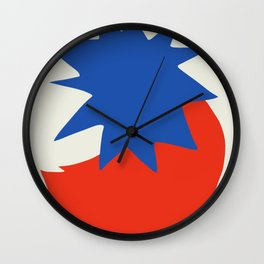 Burst bold abstract in blue and red Wall Clock