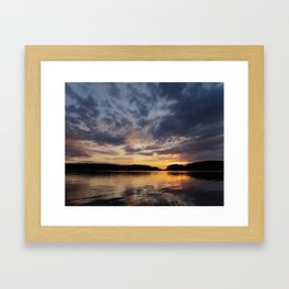 Spring Sunset - beautiful colors and reflections - cloudy sky Framed Art Print