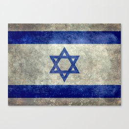 Flag of the State of Israel - Distressed worn patina Canvas Print