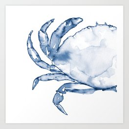 Coastal Crab in Watercolor, Navy Blue (Left Half in Set) Art Print