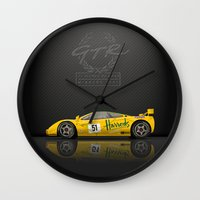 f1 Wall Clocks featuring 1995 McLaren F1 GTR Le Mans - Harrods Livery #06R  by vsixdesign