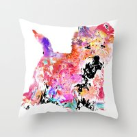 westie Throw Pillows featuring Jillian the Westie by free in the lines