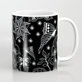 Butterfly Floral Black and White Line Drawing Coffee Mug