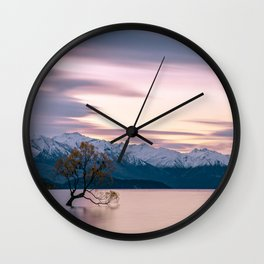 Scenic River with a Solo tree and Mountain Background Wall Clock