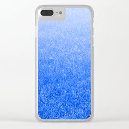 Light-to-Dark Blue Ombre Gradient Grass Clear iPhone Case